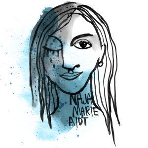 Kuvituskuva kirjailijasta Naja Marie Aidt. Toinen puoli kasvoista on surullinen.