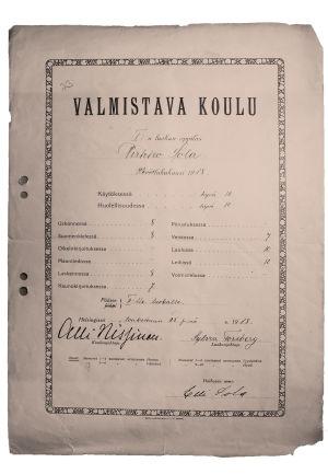 Pirkko Solan 1. luokan todistus Alli Nissisen valmistavasta koulusta 25.5.1918.