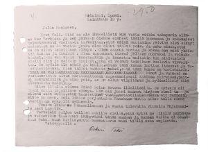 Oskari Tokoin kirje heinäkuun 12. päivä, ilmeisesti 1949.