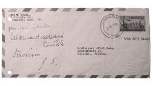 Oskari Tokoin Wäinö Solalle osoittama kirjekuori vuodelta 1955.