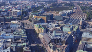 Flygbild på Mannerheimvägen, från Skillnadens håll mot riksdagshuset.