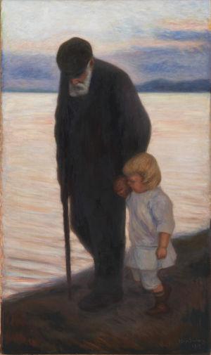 Hugo Simbergs tavla Mot kväll, föreställer en äldre man och ett litet barn i kvällsskymningen går bredvid varandra på stranden.