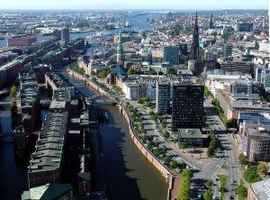 Speicherstadt i Hamburg.