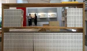 Suomen paviljonki on muutettu kirjaston lukusaliksi. Oodista on esillä kolme 3D-printtattua siivua ja alkuperäinen pienoismalli