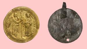 Bysanttilainen kultaraha ja sen suomalainen jäljitelmä.