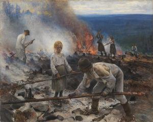 Bild på Eero Järnefelts tavla Trälar under penningen där vi ser en grupp människor hålla på med svedjebränning.
