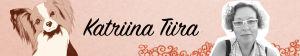 Kuvassa koirien käyttäytymisen tutkija Katriina Tiira, piirroskoira, sekä Tiiran nimi