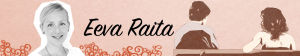 Kuvassa Eeva Raita, keskellä hänen nimensä ja kaksi piirroshahmoa