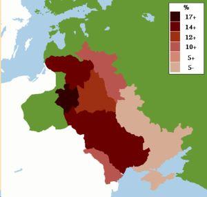 En karta som visar antalet judar i % bosatta i Ryssland ca år 1905.