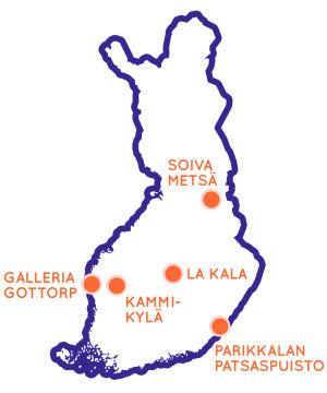 Suomen kartta josta näkyy Egenland-konseptin mukaan viisi omalaatuisinta matkakohdetta Suomessa.