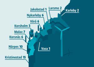Grafik av vindkraftsläget i Österbotten.