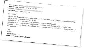 Revinnäinen sähköposti kirjeenvaihdosta.