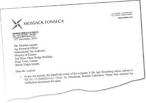 Revinnäinen Mossack Fonsecan asiakirjasta