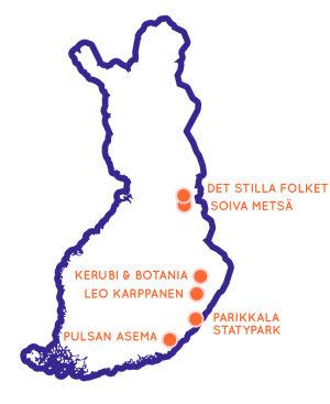 Karta som pekar ut läget för sju sevärda resmål i östra Finland.