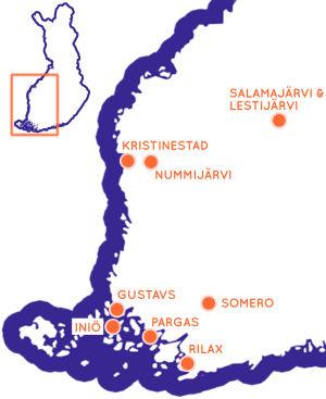 Karta över västra Finland, med några sevärda resmål utprickade.