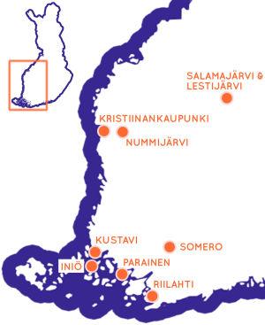 Karta över västra Finland, med sevärda resmål utprickade.