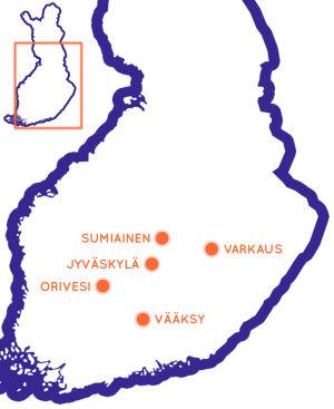 Karta över södra och mellersta Finland, med fem sevärda resmål utprickade på kartan.