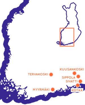 Karta över södra Finland med sex orter utprickade.
