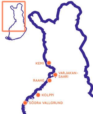 Karta över Finland med fem orter i norra Finland markerade.