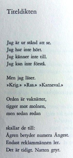 """Dikt av Gösta Ågren ur samlingen """"Ågren"""" (1968)."""