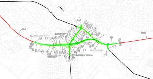 Karta över hur korsningen Alskatvägen-Brändövägen ska byggas om.