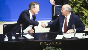 George Bush och Mihail Gorbatjov i Finlandiahuset, 1990