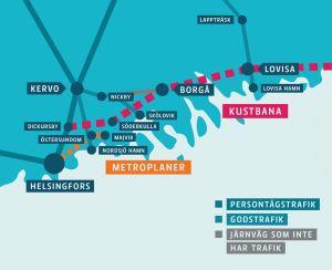 karta över visioner på järnvägsförbindelser