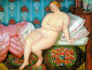 Målning av den ryske konstnären Boris Kustodijev fårn år 1915 som föreställer en naken kvinna i en säng.
