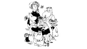 Ritad bild av Tove Jansson och mumintrollen