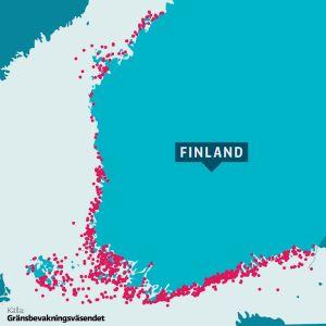 Karta över Finlands kustområden med grund som människor kör ofta på markerade.
