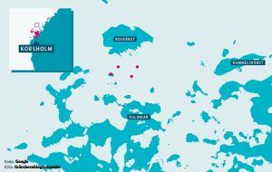 Ett grund markerat strax norr om Korsholm.