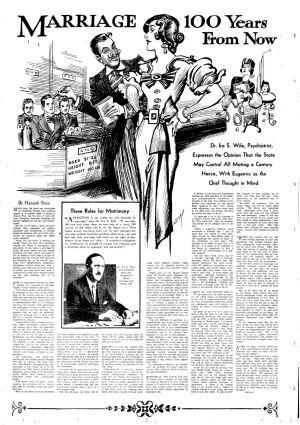 Sanomalehtiartikkeli avioliiton tulevaisuudesta 1933