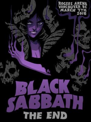 Sarjakuvataiteilija Becky Cloonanin piirtämä Black Sabbath -yhtyeen keikkajuliste.
