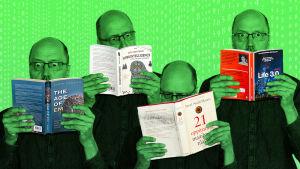 Olli lukee kirjoja tekoälyn tulevaisuudesta