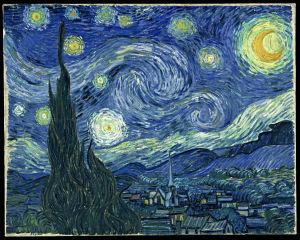 Vincent van Goghs målning Stjärnklar natt.