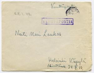 Merille osoitettu kirje tammikuulta 1942.