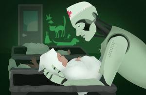 Robotti lastenhoitajana, hoivaava tekoäly
