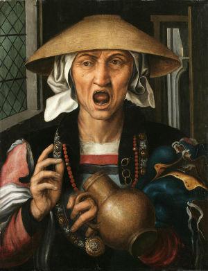 """Målningen """"Woman enraged"""" av den holländske konstnären Pieter Huys ca 1570."""
