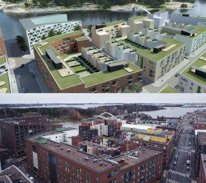 En illustration samt det faktiska resultatet av höghus i Fiskehamnen. På illustrationen är taken gröna, men inte i verkligheten.