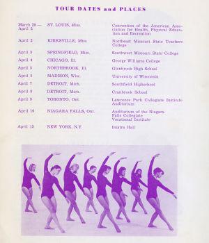 Suomi-Tyttöjen ohjelmakirja Amerikan kiertueella 1968.