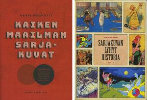 Kaksi tietokirjaa sarjakuvista.