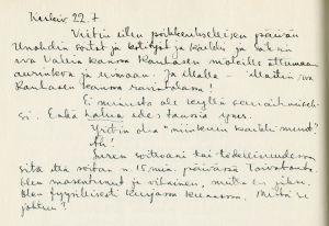 Ote päiväkirjasta heinäkuulta 1947.
