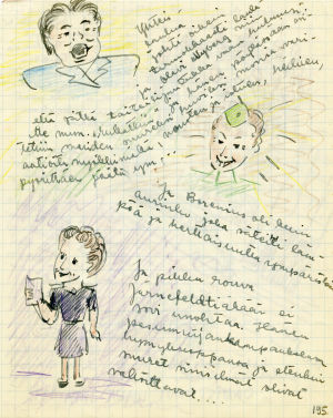 Ote päiväkirjasta: Merin piirroksia ja tekstejä.