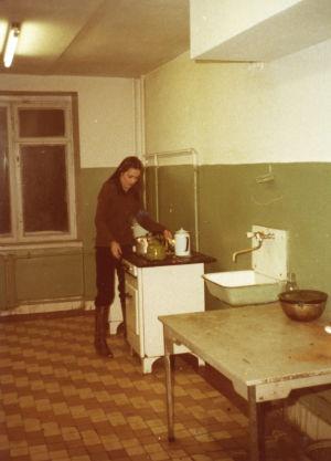 Moskovan konservatorion asuntolan keittiö.