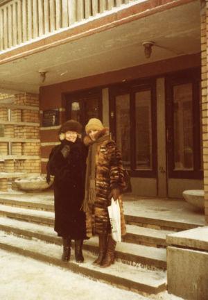 Meri Louhos ja Tiina Holmström Moskovan pakkasessa 1978.