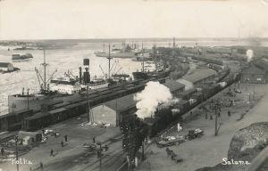 Kotkan satama 1930-luvun postikortissa.