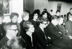Yleisöä Gerald Mooren lied-kurssilla Tukholmassa 1960-luvun alussa.