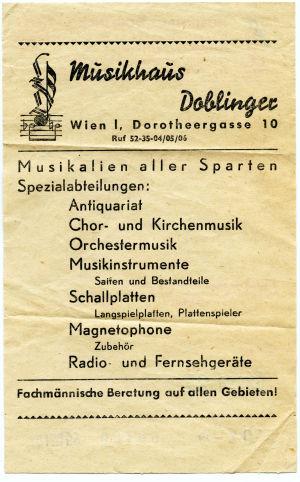 Musiikkikaupan lasku Wienissä 1959.