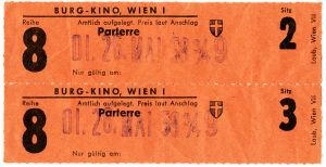Elokuvalippuja Wienin Burg-teatteriin 1959.
