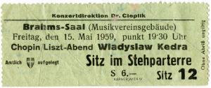 Konserttilippu Wienissä 1959.